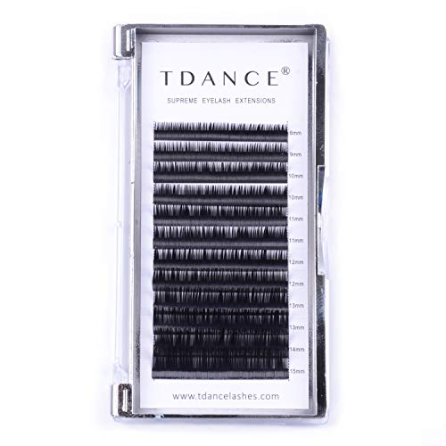 TDANCE Eyelash Extension D Curl 0.18mm Thickness Semi Permanent Individual Eyelash Extensions Silk Volume Lashes Professional Salon Use Mixed 8-15mm Length In One Tray (D-0.18,8-15mm)