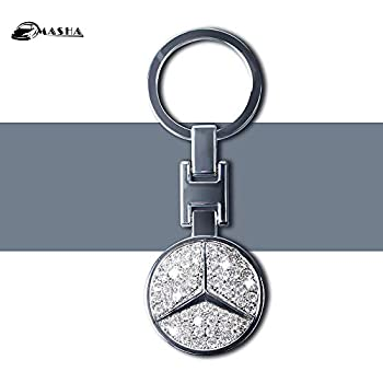 Amazon.com: Triple-C Mercedes Leather and Enamel Key Ring ...