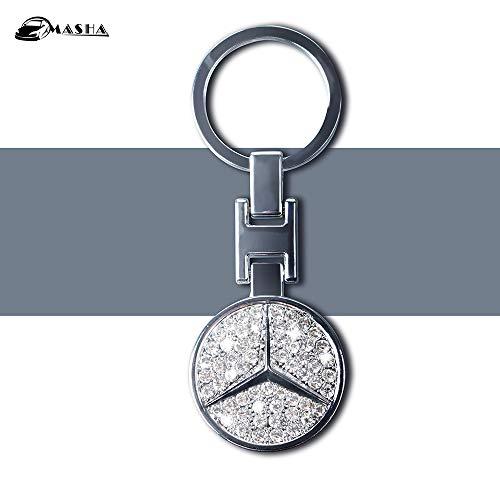 MASHA Mercedes Benz Car Keychain Car Logo Key Ring 3D Metal Emblem Pendant Double Side Zircon Crystal Decoration Lanyard Keychains for Gifts