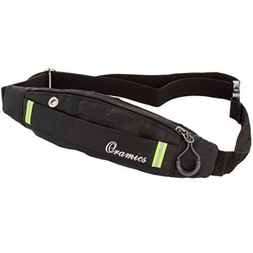 Oramics Sport elastische Bauchtasche - Ideales Sport-Accessoire zum Verstauen solcher Gegenstände, wie Handy, Schlüssel, MP3 Player, Lauf-tasche (Lauftasche mit Reflektoren)