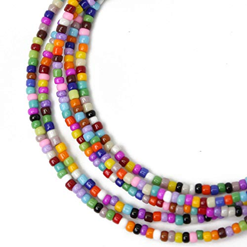 Multi Color Seed Bead Necklace-11/0 Beads-Single Strand-Sterling Silver Clasp