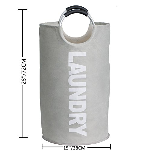 Raimodiüs Laundry Hamper,Clothes Hamper,Collapsible and Waterproof Clothes Bag.Round Handles for easy carrying.Suitable for Dorms and Travel.(Grey) by Raimodiüs (Image #2)