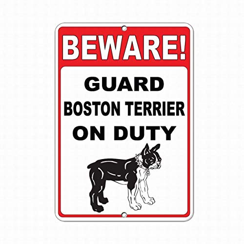 Jesiceny New Tin Sign Beware! Guard Boston Terrier On Duty Funny Quote Safety Aluminum Metal Sign for Wall Decor 8x12 INCH ()