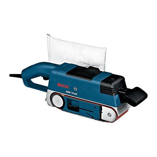 Bosch Professional GBS 75 AE Set, 750 W Nennaufnahmeleistung, 75 mm Schleiffläche, Koffer, Gewebeschleifband, Parallel-/Winkelanschlag, Grafitplatte