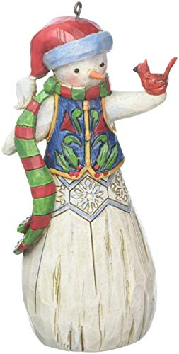 Snowman Ornament Collection - Enesco Department 56 Jim Shore Folklore Snowman with Cardinal, 4.75