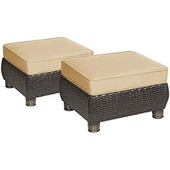 Beautiful La Z Boy Outdoor Breckenridge Resin Wicker Patio Furniture Ottomans (2  Piece Set, Natural Tan) With All Weather Sunbrella Cushions