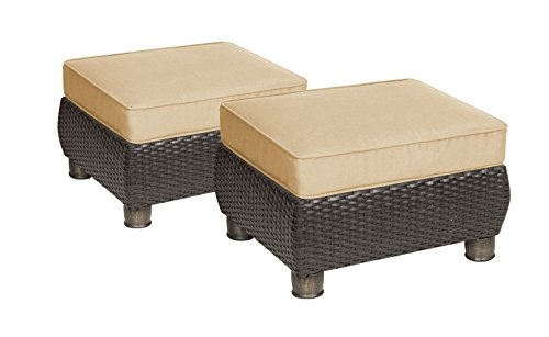 La-Z-Boy Outdoor Breckenridge Resin Wicker Patio Furniture Ottomans (2 Piece Set, Natural Tan) With All Weather Sunbrella Cushions by La-Z-Boy Outdoor