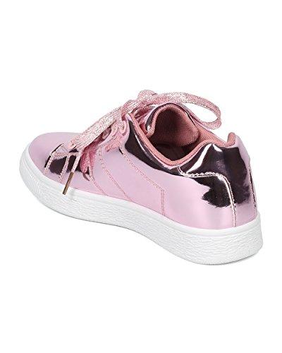 Indulgere Donne Specchio Sneaker Metallico - Allacciatura Sneaker - Sneaker Bassa Cima - Moda Trendy Casual Versatile Sneaker Comfort - Andi Oro Rosa Metallizzato