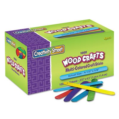 Colored Wood Craft Sticks, 4 1/2 x 3/8, Wood, Assorted, 1000/Box (10 Boxes) by THE CHENILLE KRAFT (Image #1)