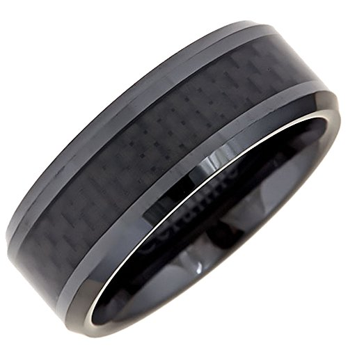 8Mm Black Ceramic Carbon Fiber Wedding Ring Comfort Fit Size 8 5