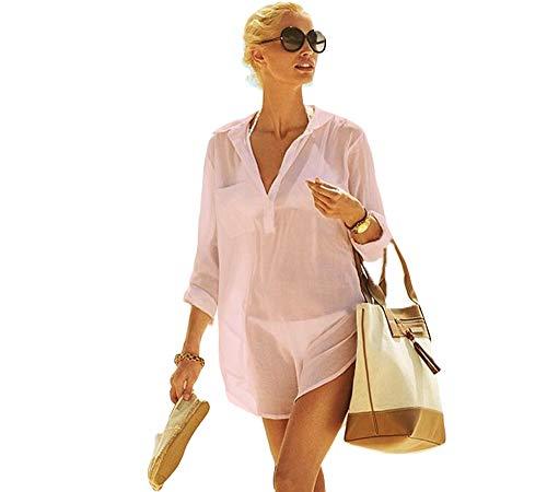 Women's Beachwear Bikini Swimwear Beach V-Neck Sexy Perspective Cover Up Skirt Bathing Suit(CP-CT) (XL, Pink) (Suit Cotton Pink)