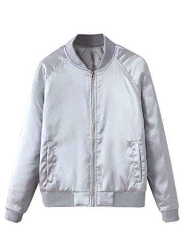 CHARLES RICHARDS Women's Bomber Jacket Zip Up Stain Look Baseball Collar Classic Short Jacket Baseball Jacket Coat Gray ()