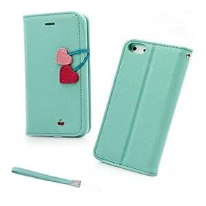SODIAL(R) Funda Cartera de Cuero & Soporte para iPhone 5 5G - Azul