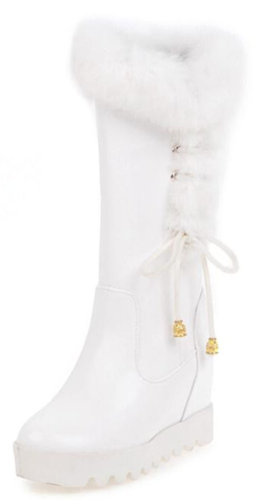 IDIFU Women's Warm String Platform High Wedge Heels Hidden Inside Faux Fur Mid Calf Snow Boots (White, 5 B(M) US)