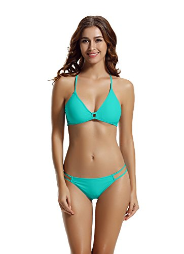 zeraca Women's Strappy Pantie Cross Criss Triangle Bikini Swimsuits (M10, Lake Blue)