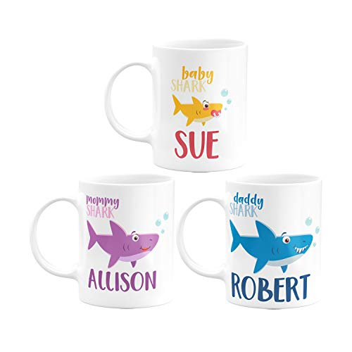 Personalized Birthday Gifts Shark Family Coffee Mug with Your Name- 11oz & 15oz Large Cup - Birthday Gifts, Christmas Gifts, Mother's Day Gifts, Father's Day Gifts - Daddy, Mommy, Baby Sharks Set of 3