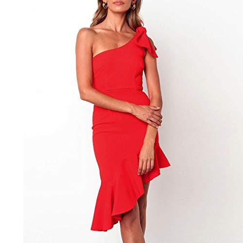 Mode Sanfashion ChicDe Soire robe Sexy Nu Dress Slim Vêtements Épaule Manches robe Ruffles Sans Robe Femme Y67vbgyf