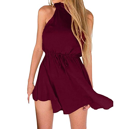 ▶HebeTop◄ Women's Lace Sexy Open Back Hollow Out Boho Playsuit Jumpsuit Romper Dress Wine Red