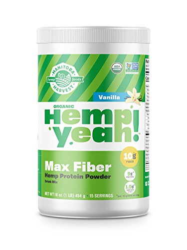 Manitoba Harvest Hemp Yeah! Organic Max Fiber Protein Powder, Vanilla, 16oz; with 10g of Fiber, 9g Protein and 1.9g Omegas 3&6 per Serving, Preservative Free, ()