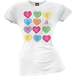 Valentine's Day - Candy Hearts Juniors T-Shirt White X-Large