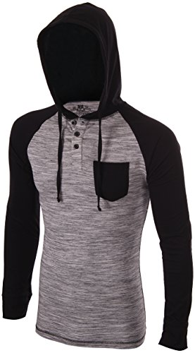 Enimay Men's Henley Raglan T-Shirt Casual Pullover Long Sleeve Hoodie Heather Black | Gray (Hooded Pullover Shirt)