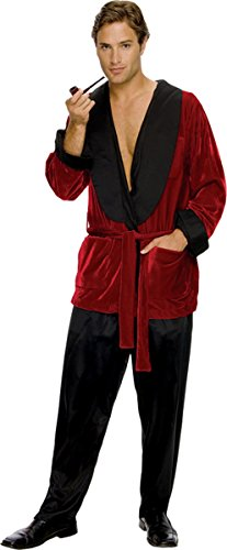 Playboy Costumes (Secret Wishes Men's Playboy Hugh Hefner Smoking Jacket Costume, Burgundy,)