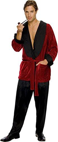 Costumes Playboy (Secret Wishes Men's Playboy Hugh Hefner Smoking Jacket Costume, Burgundy,)