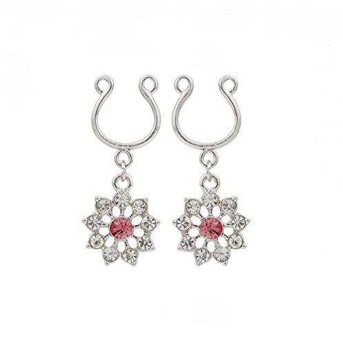 hyidealism pezón anillo bares rosa piedras preciosas flores con cuerpo piercing joyas par 14G se vende como par