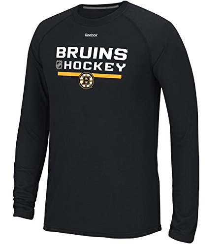 Reebok Boston Bruins Heather Black Locker Room Ultimate Synthetic Long Sleeve Performance Shirt (XX-Large) -