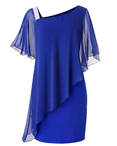 VIUVIU - Vestido de gasa para mujer, estilo casual, con capas, manga de volantes, para fiesta, cóctel, Azul, XXL