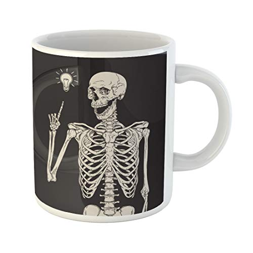 Semtomn Funny Coffee Mug Vintage Human Skeleton Has Idea Over Halloween Heavy Drawing 11 Oz Ceramic Coffee Mugs Tea Cup Best Gift Or Souvenir