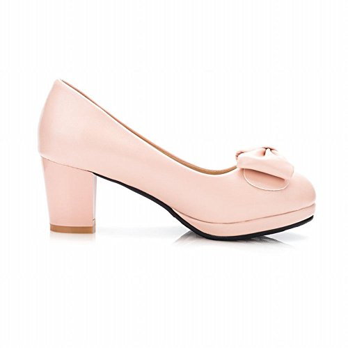 Charm Foot Womens Sweet Chunky Mid Heel Bows Pump Shoes Rosa