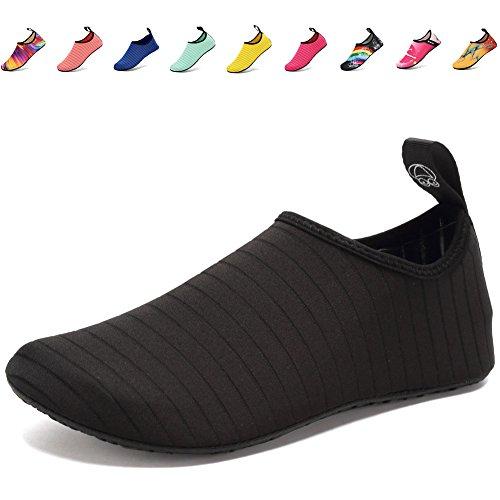 CIOR Lightweight Aqua Socks Quick-Dry Water Shoes Mutifunctional Barefoot For Beach Pool Surf Yoga Exercise SX-Black-38/39
