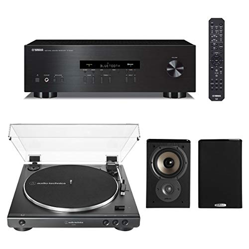Yamaha R-S202 Bluetooth Stereo Receiver bundle with Audio-Technica AT-LP60X-BK Fully