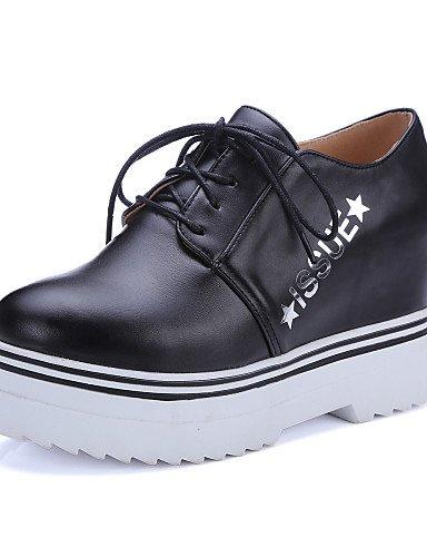 5 Cn38 cuñas Black negro Eu39 De 5 5 Zapatos Blanco White 5 tacón Zq Mujer us7 Cn40 Hug Cuña tacones Uk5 Eu38 casual semicuero Uk6 us8 41qYv7w