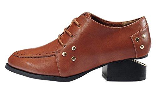 INDEX Women's Design With Rivet Low-Heels Closure Lace-up Shoes (7 B(M) US, Brown)