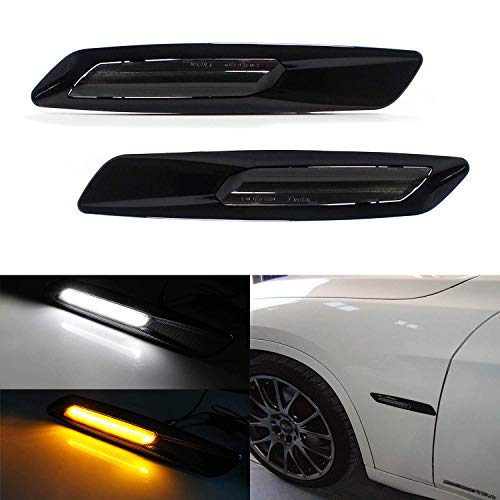 iJDMTOY Glossy Black Finish Amber/White Switchback Full LED Side Marker Light Kit For BMW 1 3 5 Series X1, w/BMW F10 Style, Replace OEM Sidemarker Lamps ()