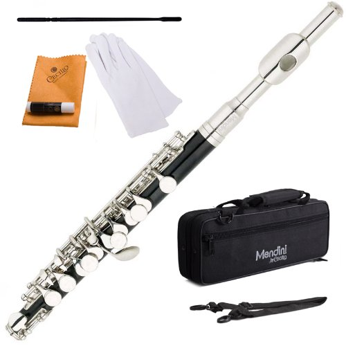 B005IS4T6K Mendini MPO-EN Black Resin Key of C Piccolo with Nickel Plated Keys with Case, Joint Grease, Cleaning Cloth and Rod, and Gloves 41Ed8Olqa1L