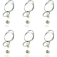 6 Pieces Retractable Badge Reel, Badge Holder with Key Ring and Belt Clip for ID Card Badge Holder