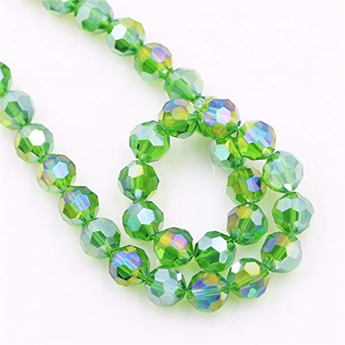 Chinese Crystal Faceted Round Beads (Calvas Lampwork Glass Round Ball AB 6/8mm Faceted Crystal Sapcer Beads Chinese Beading DIY Jewelry Making Supplies Wholesale - (Color: Grass greenAB, Item Diameter: 8mm 70pcs))