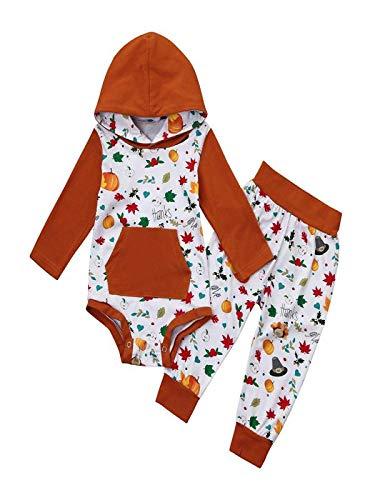 (Baby Boy Girl Maple Leaf Hooded Romper Top+Pant Set Toddler Thanksgiving)