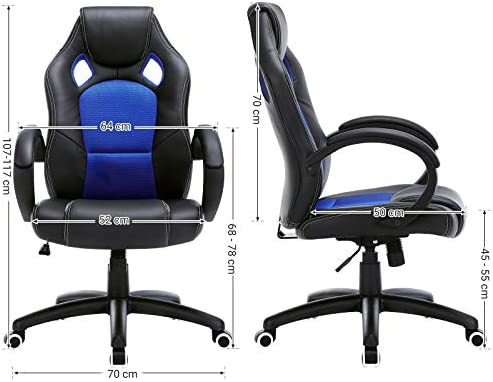 SONGMICS OBG56L Racing - Silla de Escritorio de Oficina Ergonómica Regulable con Ruedas, color Azul 24
