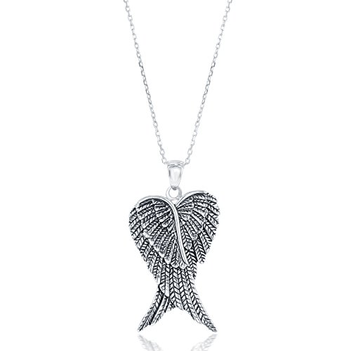 Beaux Bijoux Sterling Silver Double Angel Wings Heart/Silver or Rose Tone Created Blue/White or Pink Opal Angel Wings 18 Pendant Necklace