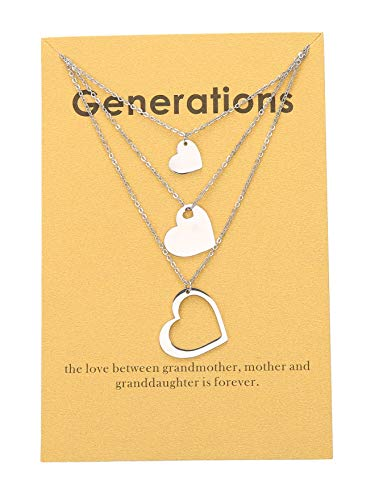 Zealmer Generations Necklace for Grandma 3 Heart Grandmother Gift Necklace Silver for Mom Granddaughter