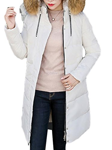 Generic Puffer Down Sleeve Warm Long White Women's Collar Fur Jackets rxYPqrRw