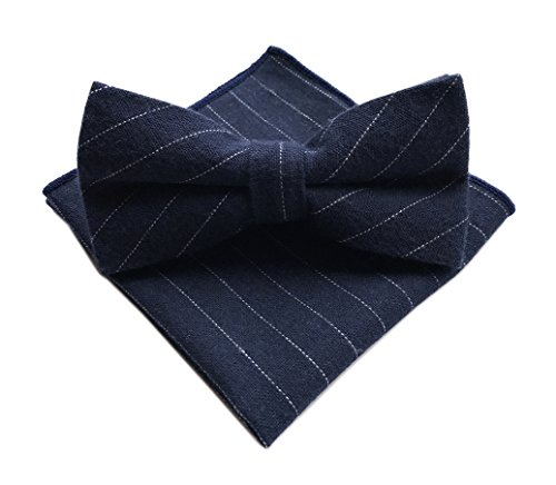Men's Handmade Luxury Navy Blue Bow Ties Patterned Neckties for Adults (Breasted Bow Tie)