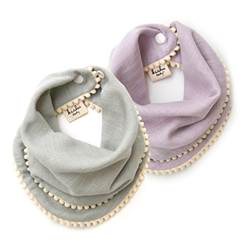 2-pk Sage and Lavender Pom Pom Bib Gift Set for Girls, Multicolor, One Size (Scarf Gift Set)