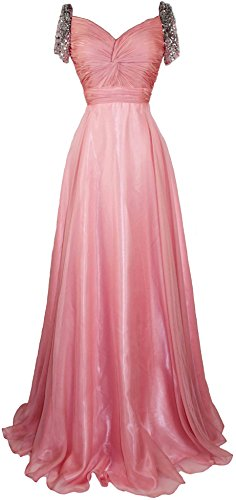 Meier Women's Beaded Short Sleeve Pleated Mother of Bride Evening Prom Dress M10 Coral 20