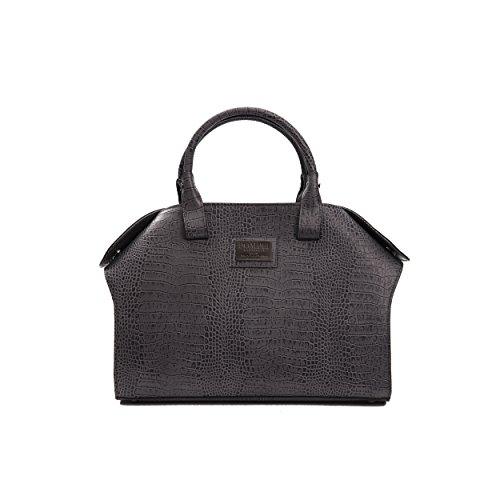 Donatella Pompei Bolso de mano de mujer en cuero genuino 37x27x16.5 Cm Grey