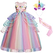 Jurebecia Unicorn Dress Girls Tulle Rainbow Tutu Princess Costume Flower Birthday Party Pageant Ball Dress + H